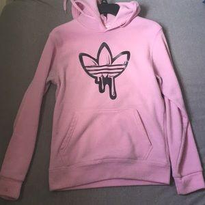 adidas( black sign) drip hoodie(pink)